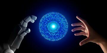 masa depan ai, teknologi digital, wa web, ib bri, bisnis manfaat teknologi ai - human hand and robot hand with hud circle interface and binary number code on black screen background t20 AVANJV 360x180 - 10 Manfaat Teknologi Ai