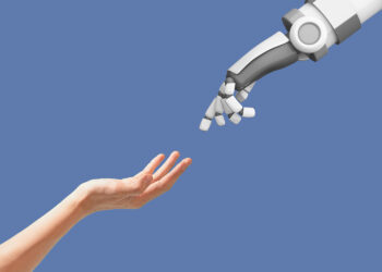 keuntungan kerugian ai ai - human hand and robot hand with empty space on blue FSWGCZT 350x250 - AI : Apa Itu Teknologi Artificial Intelligence